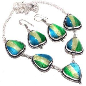 Fancy Dichroic Glass Necklace & Earrings 925ss Set